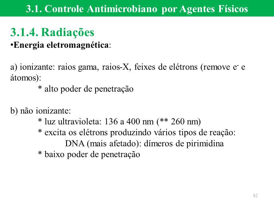 3.1.4. Radiações Energia eletromagnética: a) ionizante: raios gama, raios-X, feixes de elétrons (remove e - e átomos): * alto poder de penetração b) n
