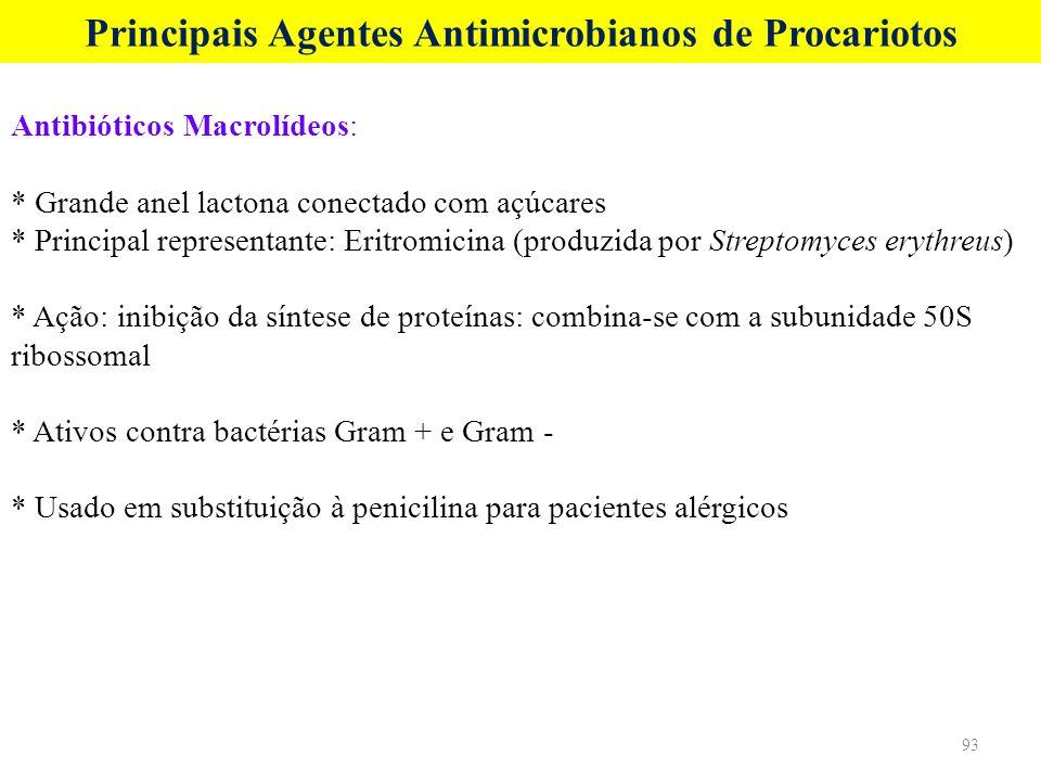 Principais Agentes Antimicrobianos de Procariotos Antibióticos Macrolídeos: * Grande anel lactona conectado com açúcares * Principal representante: Er