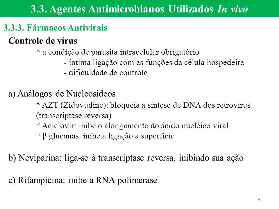 Controle de vírus * a condição de parasita intracelular obrigatório - íntima ligação com as funções da célula hospedeira - dificuldade de controle a)
