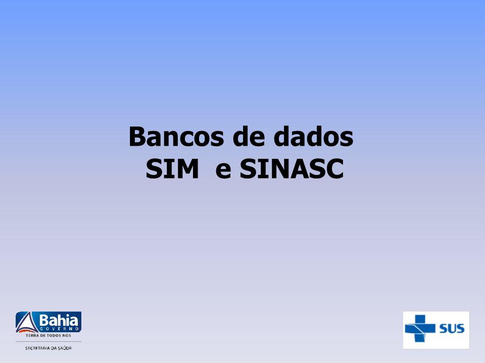 SIM Base Local Base Regional Base Estadual Município que codifica e digita DIRES SESAB/DIS Base Federal DATASUS Por email Pelo SISNET
