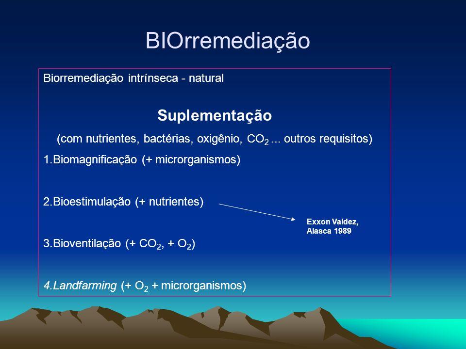 BIOrremediação Biorremediação intrínseca - natural Suplementação (com nutrientes, bactérias, oxigênio, CO 2... outros requisitos) 1.Biomagnificação (+