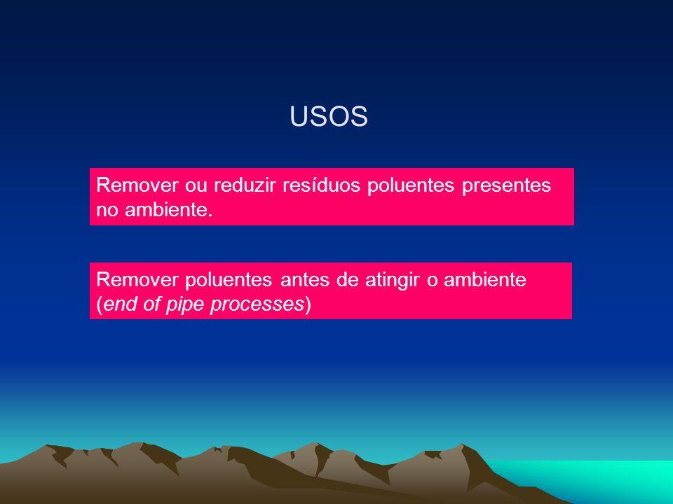 USOS Remover ou reduzir resíduos poluentes presentes no ambiente. Remover poluentes antes de atingir o ambiente (end of pipe processes)