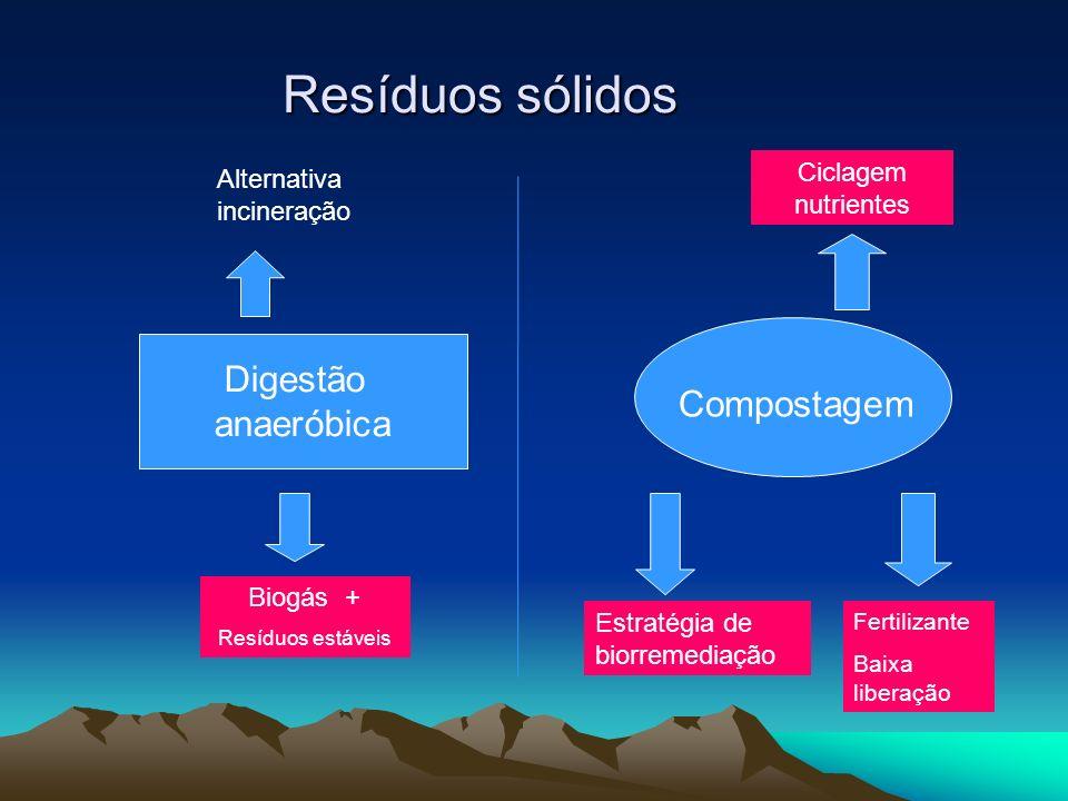 Resíduos sólidos Digestão anaeróbica Compostagem Biogás + Resíduos estáveis Ciclagem nutrientes Estratégia de biorremediação Fertilizante Baixa libera