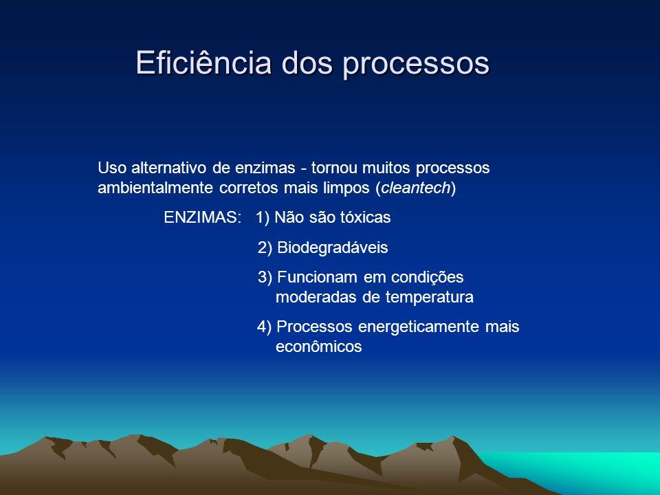 Eficiência dos processos Uso alternativo de enzimas - tornou muitos processos ambientalmente corretos mais limpos (cleantech) ENZIMAS: 1) Não são tóxi