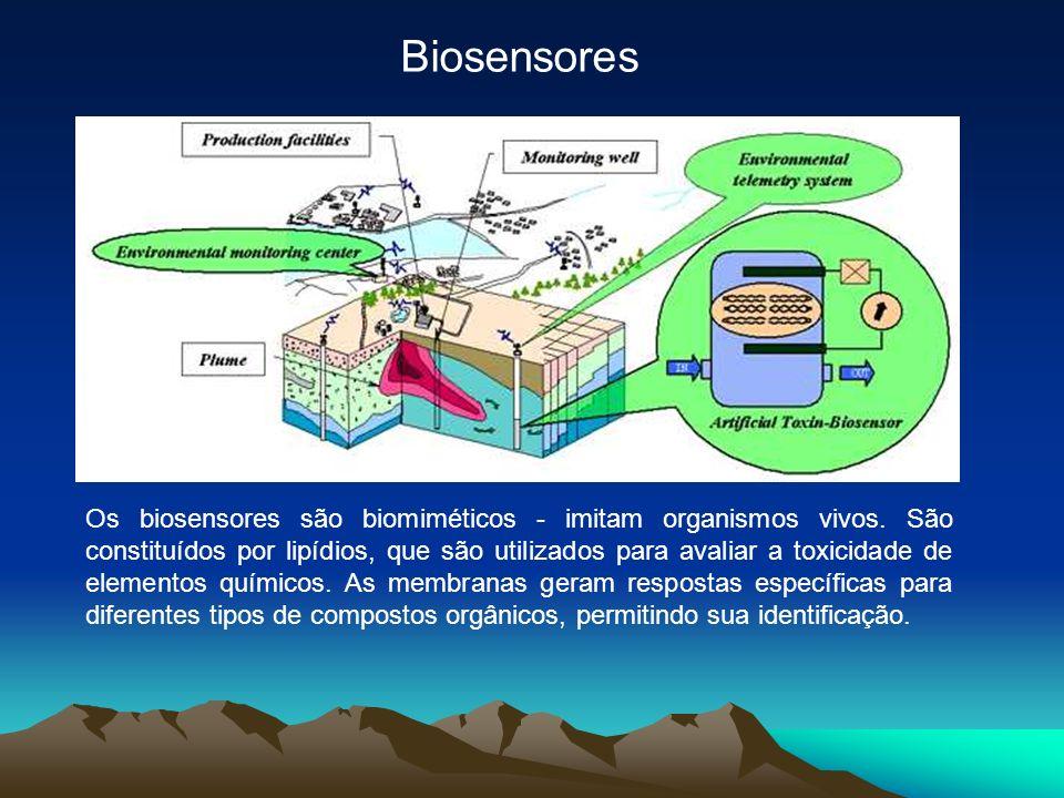 Biosensores Os biosensores são biomiméticos - imitam organismos vivos. São constituídos por lipídios, que são utilizados para avaliar a toxicidade de