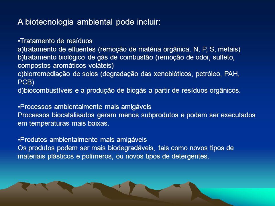 A biotecnologia ambiental pode incluir: Tratamento de resíduos a)tratamento de efluentes (remoção de matéria orgânica, N, P, S, metais) b)tratamento b