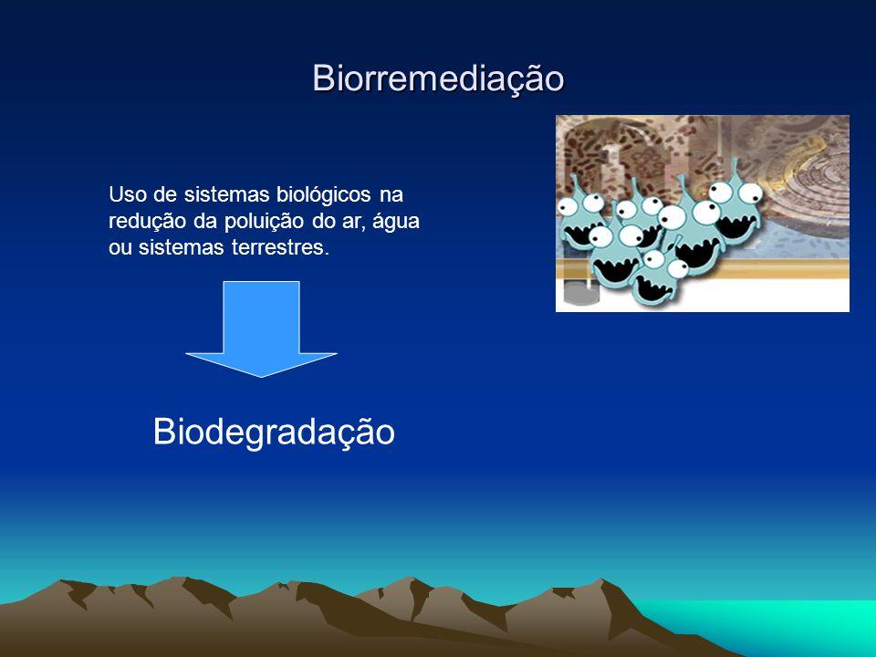 Biorremediação Uso de sistemas biológicos na redução da poluição do ar, água ou sistemas terrestres. Biodegradação