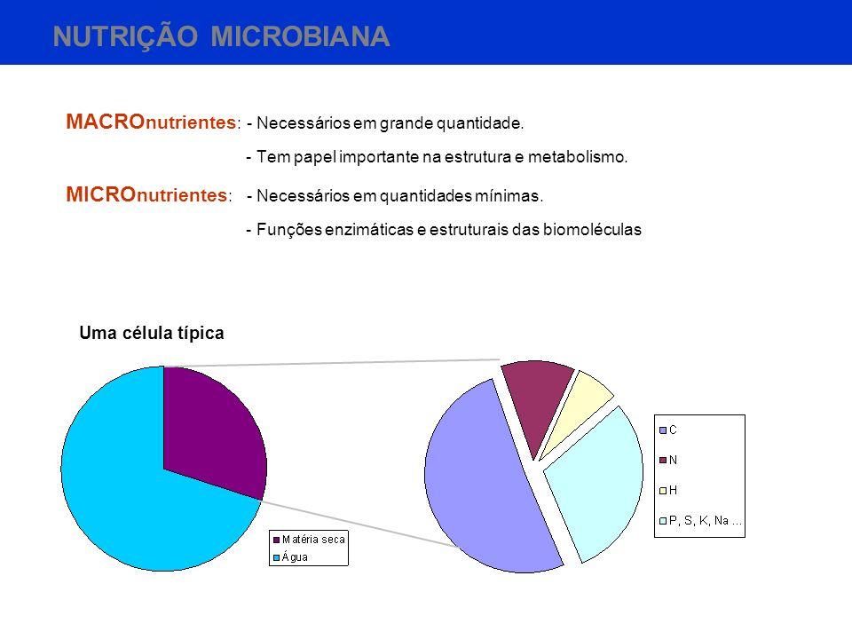 NUTRIÇÃO MICROBIANA MACRO nutrientes : - Necessários em grande quantidade. - Tem papel importante na estrutura e metabolismo. MICRO nutrientes : - Nec