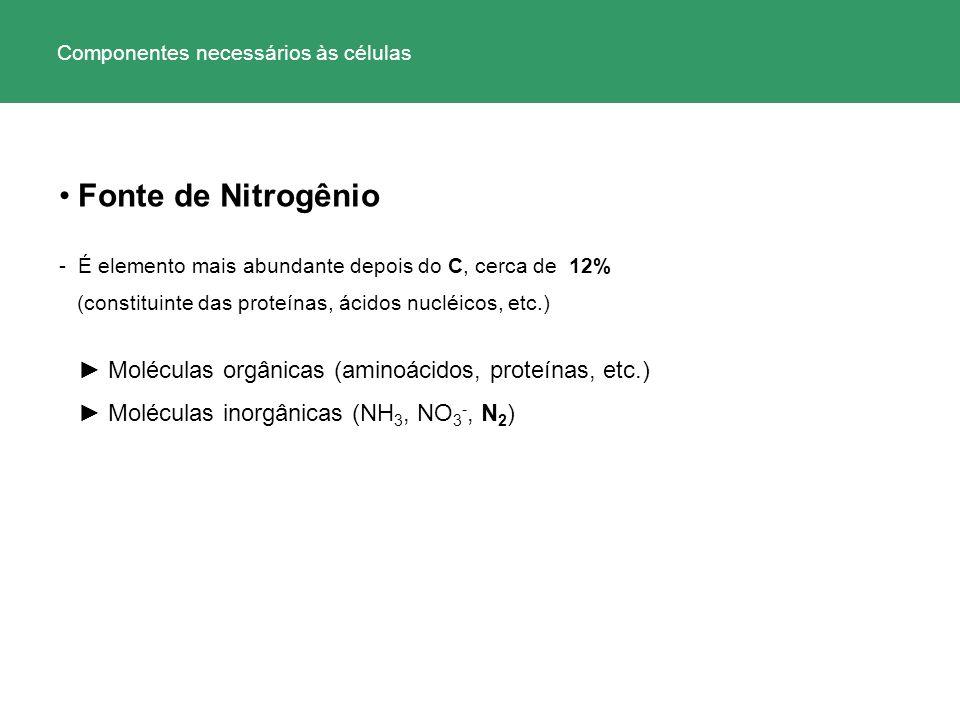 Fonte de Nitrogênio - É elemento mais abundante depois do C, cerca de 12% (constituinte das proteínas, ácidos nucléicos, etc.) Moléculas orgânicas (am