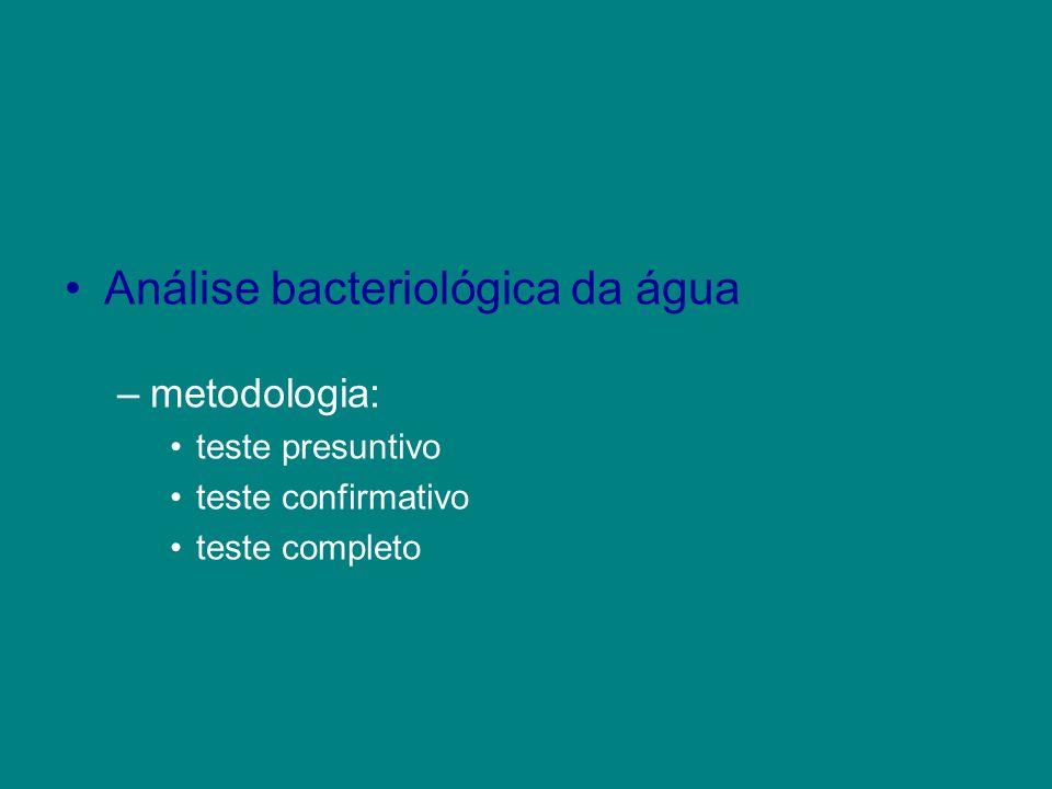 Análise bacteriológica da água –metodologia: teste presuntivo teste confirmativo teste completo