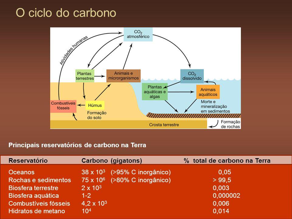 O ciclo do carbono Principais reservatórios de carbono na Terra Reservatório Carbono (gigatons) % total de carbono na Terra Oceanos 38 x 10 3 (>95% C