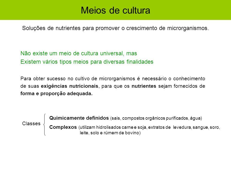 Meios de cultura Classes Quimicamente definidos (sais, compostos orgânicos purificados, água) Complexos (utilizam hidrolisados carne e soja, extratos