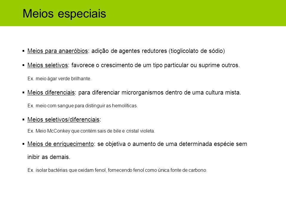 Meios especiais Meios para anaeróbios: adição de agentes redutores (tioglicolato de sódio) Meios seletivos: favorece o crescimento de um tipo particul