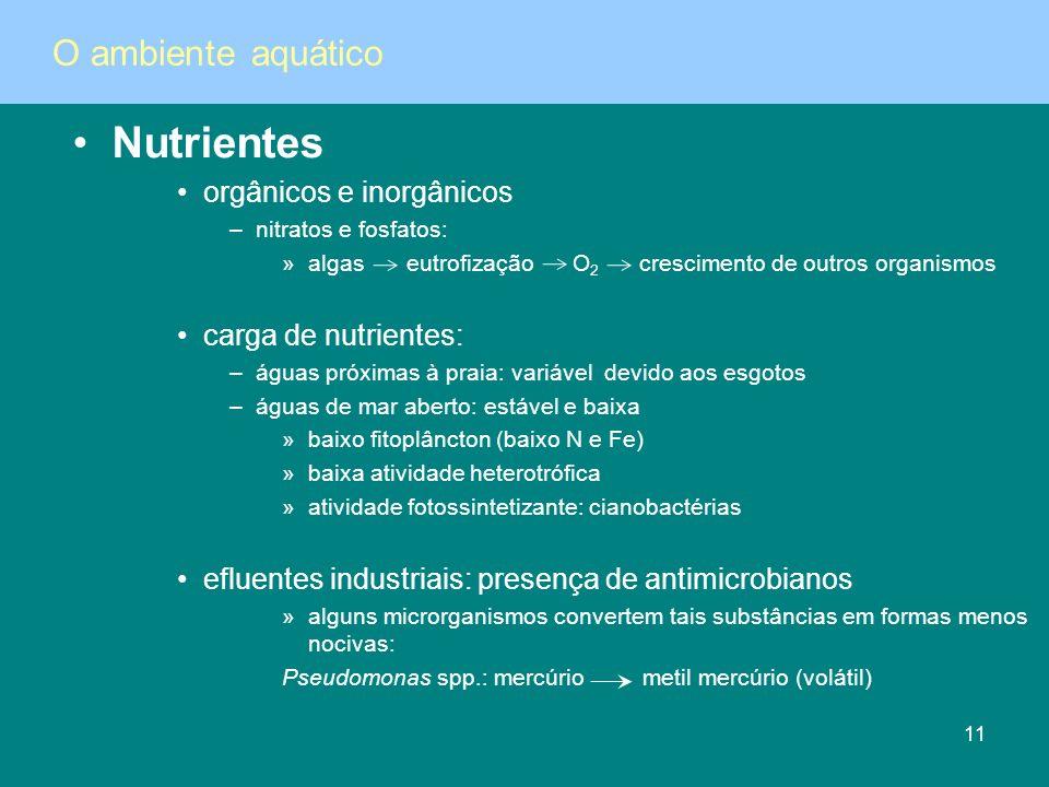 Nutrientes orgânicos e inorgânicos –nitratos e fosfatos: »algas eutrofização O 2 crescimento de outros organismos carga de nutrientes: –águas próximas