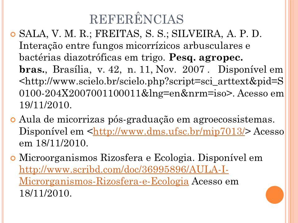 REFERÊNCIAS SALA, V. M. R.; FREITAS, S. S.; SILVEIRA, A. P. D. Interação entre fungos micorrízicos arbusculares e bactérias diazotróficas em trigo. Pe