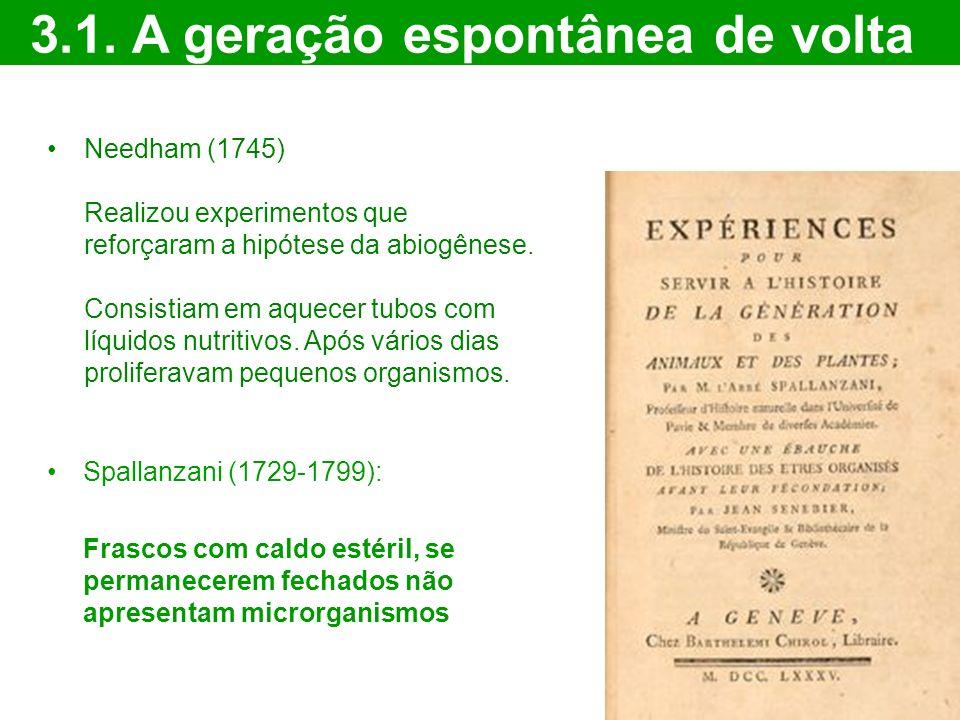Spallanzani (1729-1799): Frascos com caldo estéril, se permanecerem fechados não apresentam microrganismos 3.1. A geração espontânea de volta Needham