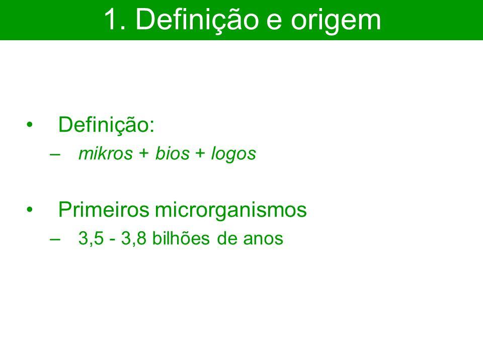 Definição: –mikros + bios + logos Primeiros microrganismos –3,5 - 3,8 bilhões de anos 1. Definição e origem