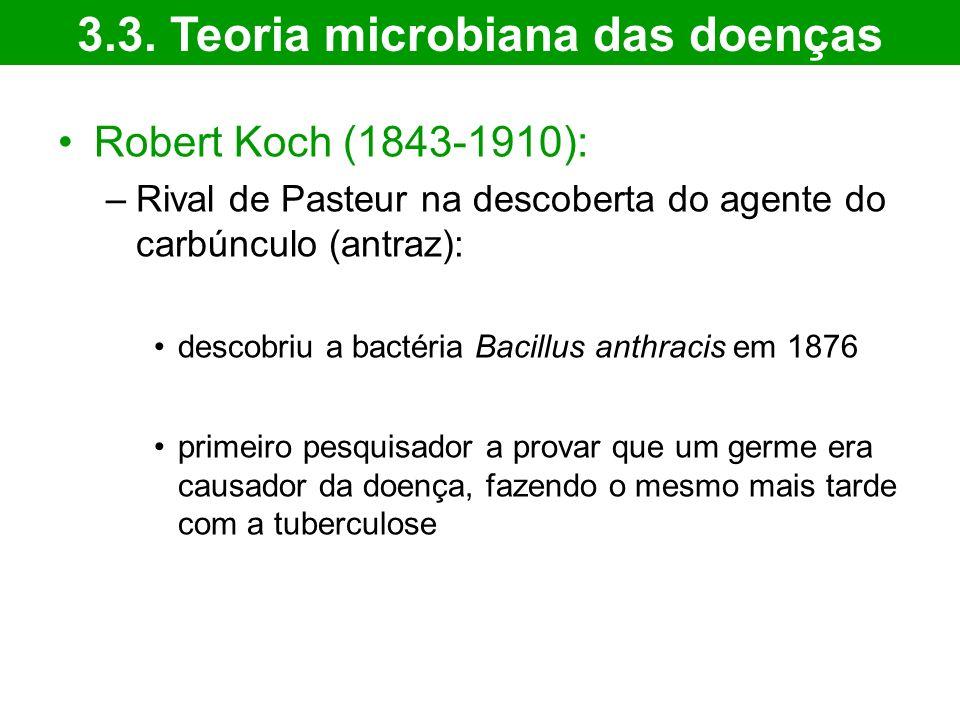 Robert Koch (1843-1910): –Rival de Pasteur na descoberta do agente do carbúnculo (antraz): descobriu a bactéria Bacillus anthracis em 1876 primeiro pesquisador a provar que um germe era causador da doença, fazendo o mesmo mais tarde com a tuberculose 3.3.