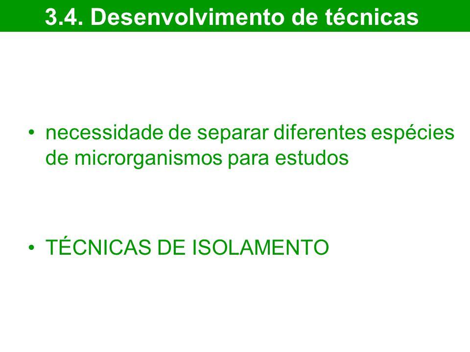 necessidade de separar diferentes espécies de microrganismos para estudos TÉCNICAS DE ISOLAMENTO 3.4. Desenvolvimento de técnicas