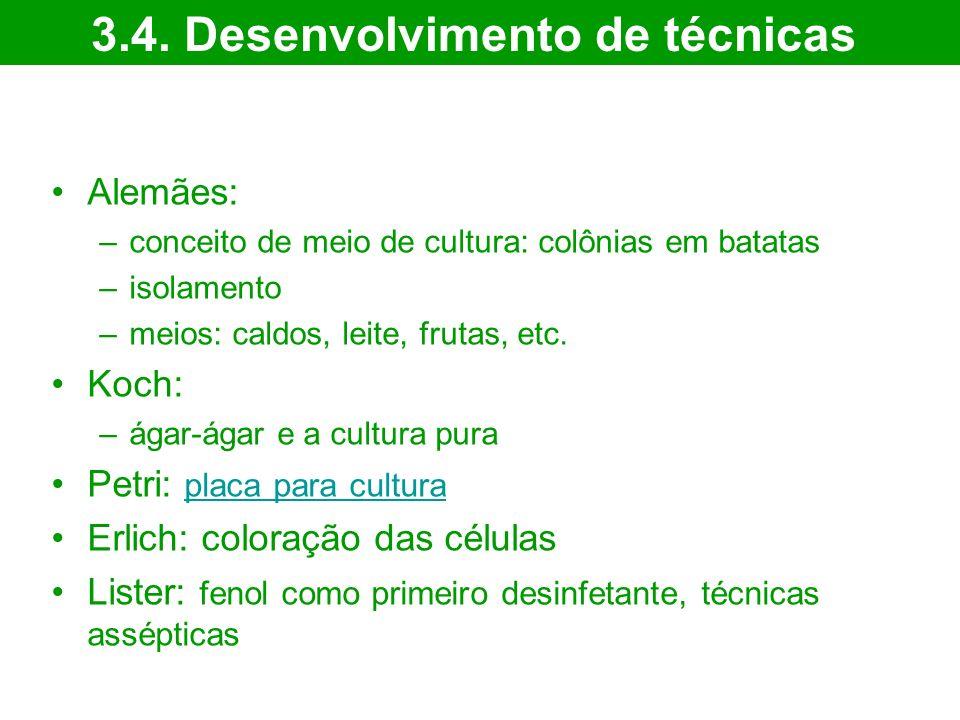Alemães: –conceito de meio de cultura: colônias em batatas –isolamento –meios: caldos, leite, frutas, etc.