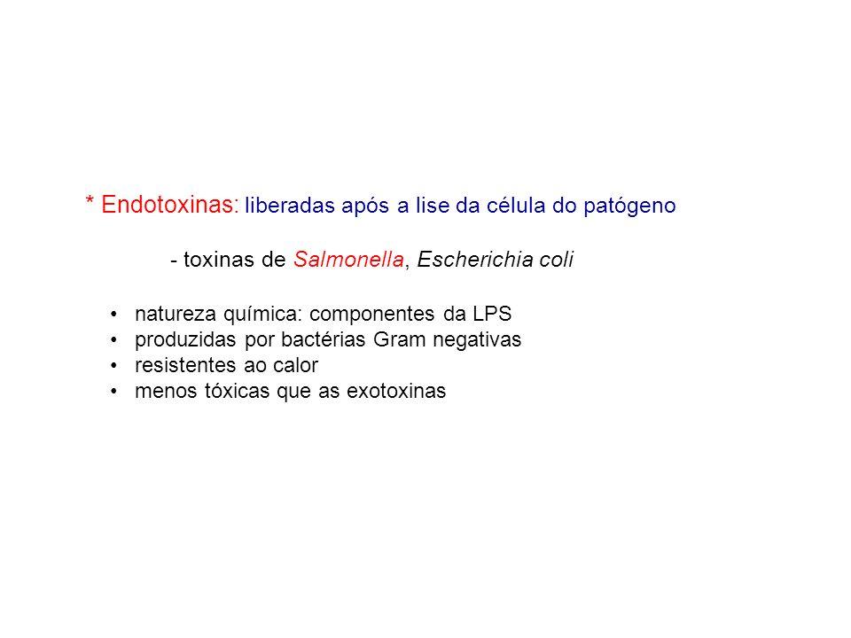 * Endotoxinas: liberadas após a lise da célula do patógeno - toxinas de Salmonella, Escherichia coli natureza química: componentes da LPS produzidas p