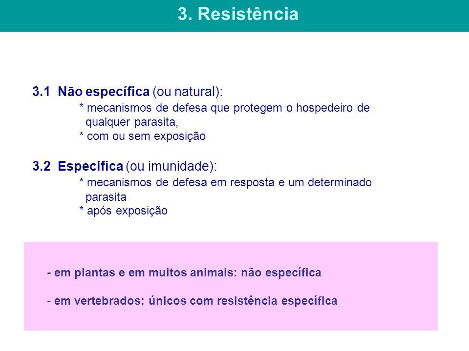 3.1 Não específica (ou natural): * mecanismos de defesa que protegem o hospedeiro de qualquer parasita, * com ou sem exposição 3.2 Específica (ou imun