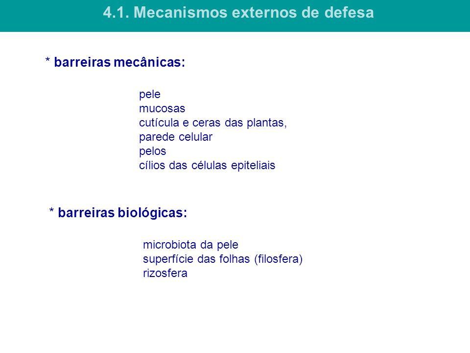 * barreiras mecânicas: pele mucosas cutícula e ceras das plantas, parede celular pelos cílios das células epiteliais 4.1. Mecanismos externos de defes