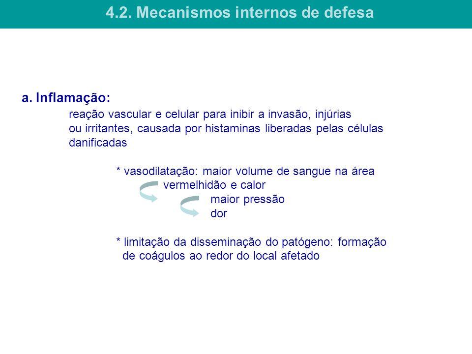 a. Inflamação: reação vascular e celular para inibir a invasão, injúrias ou irritantes, causada por histaminas liberadas pelas células danificadas * v