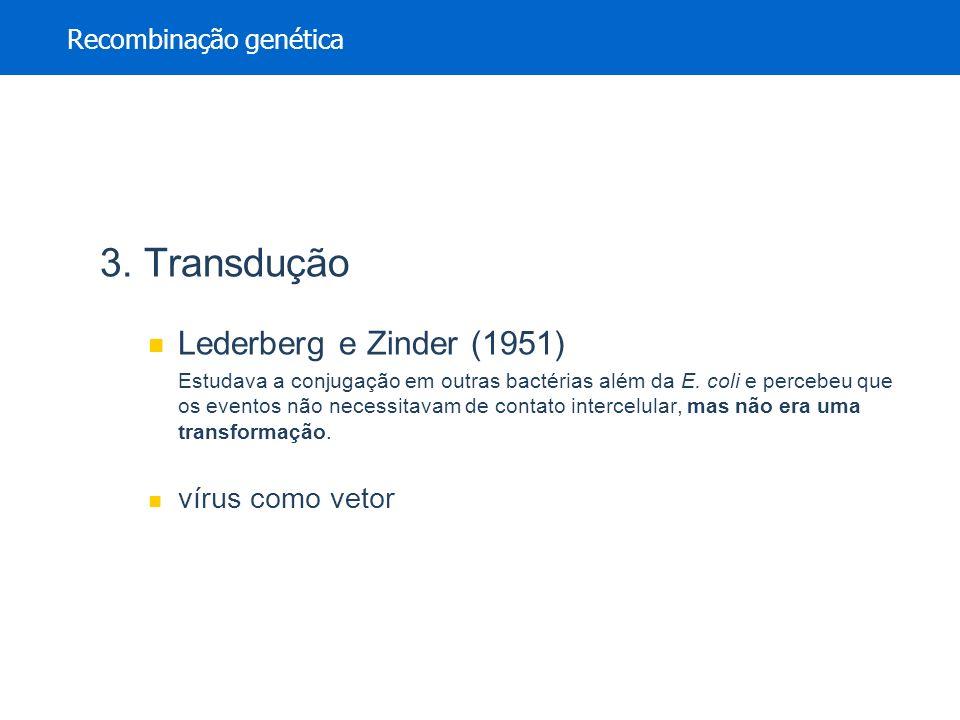 3. Transdução Lederberg e Zinder (1951) Estudava a conjugação em outras bactérias além da E. coli e percebeu que os eventos não necessitavam de contat