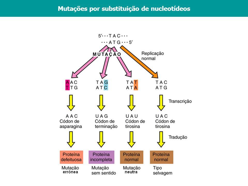 Mutações por substituição de nucleotídeos