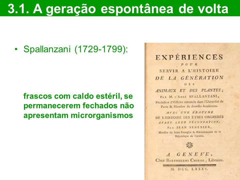 Spallanzani (1729-1799): frascos com caldo estéril, se permanecerem fechados não apresentam microrganismos 3.1. A geração espontânea de volta