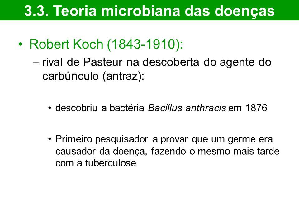 Robert Koch (1843-1910): –rival de Pasteur na descoberta do agente do carbúnculo (antraz): descobriu a bactéria Bacillus anthracis em 1876 Primeiro pe