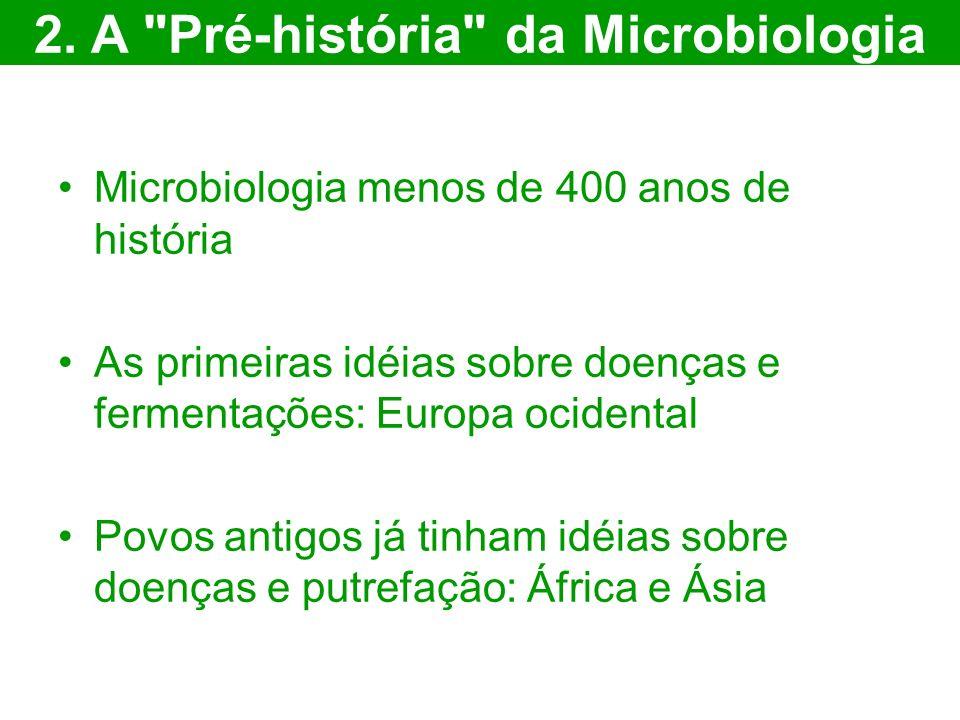 Microbiologia menos de 400 anos de história As primeiras idéias sobre doenças e fermentações: Europa ocidental Povos antigos já tinham idéias sobre do