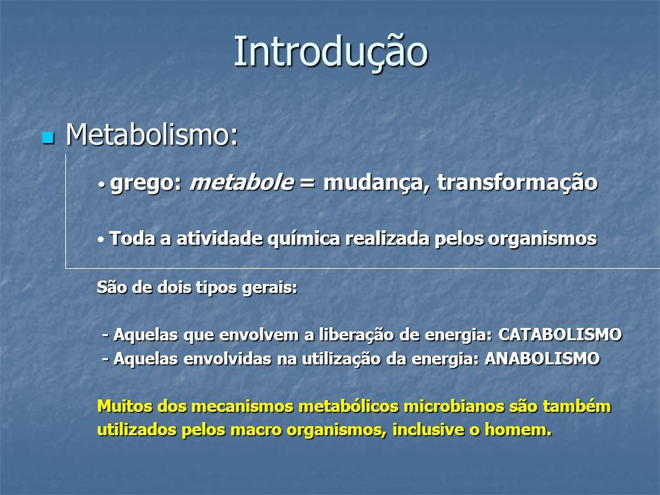 Introdução Metabolismo: Metabolismo: grego: metabole = mudança, transformação grego: metabole = mudança, transformação Toda a atividade química realiz