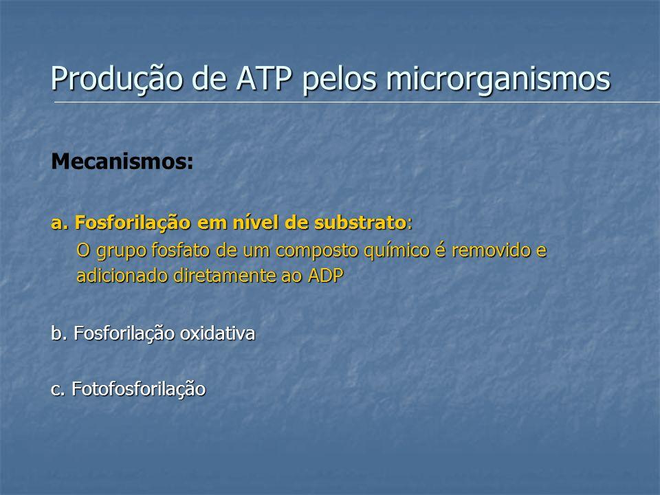 Produção de ATP pelos microrganismos Mecanismos: a. Fosforilação em nível de substrato: O grupo fosfato de um composto químico é removido e adicionado