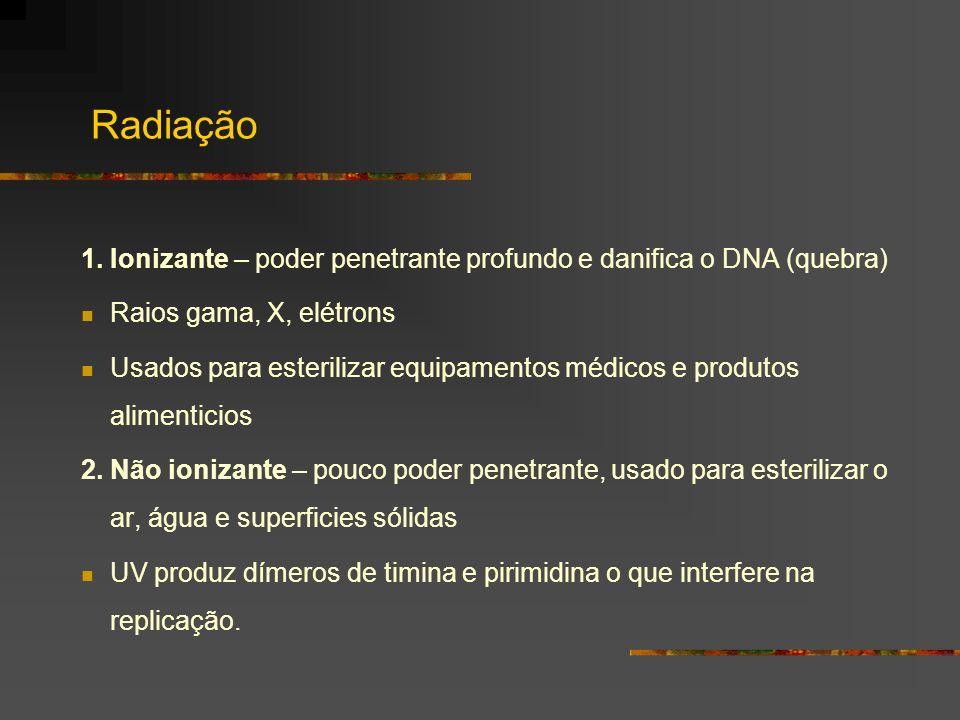 Radiação 1. Ionizante – poder penetrante profundo e danifica o DNA (quebra) Raios gama, X, elétrons Usados para esterilizar equipamentos médicos e pro