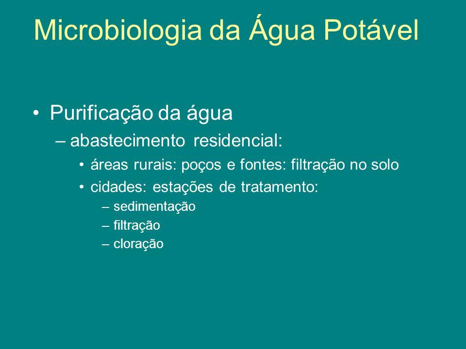 Purificação da água –abastecimento residencial: áreas rurais: poços e fontes: filtração no solo cidades: estações de tratamento: –sedimentação –filtra