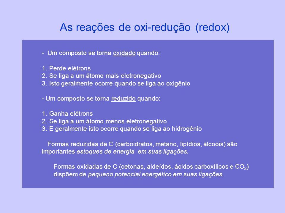 As reações de oxi-redução (redox) -Um composto se torna oxidado quando: 1. Perde elétrons 2. Se liga a um átomo mais eletronegativo 3. Isto geralmente