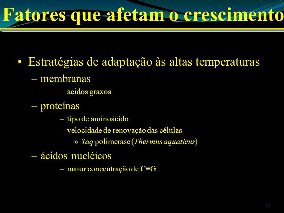 Estratégias de adaptação às altas temperaturas –membranas –ácidos graxos –proteínas –tipo de aminoácido –velocidade de renovação das células »Taq poli