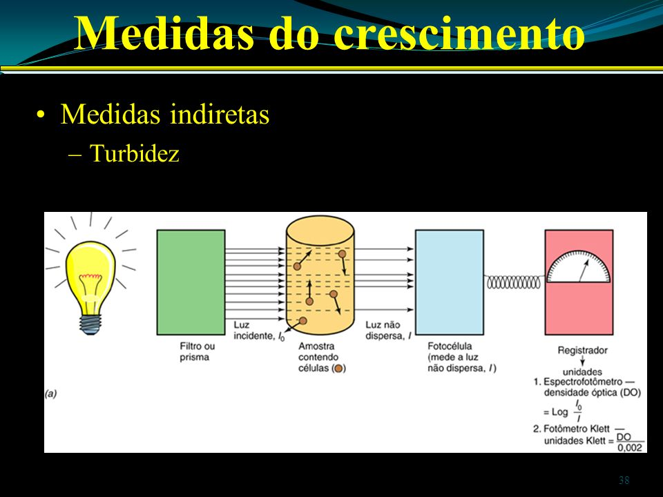 Medidas do crescimento Medidas indiretas –Turbidez 38