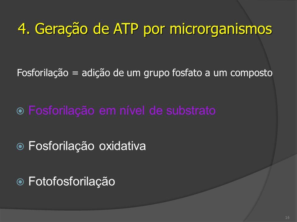 Fosforilação em nível de substrato Fosforilação oxidativa Fotofosforilação 4. Geração de ATP por microrganismos Fosforilação = adição de um grupo fosf
