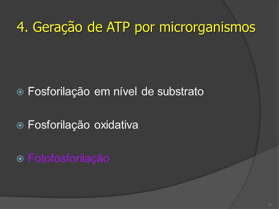 Fosforilação em nível de substrato Fosforilação oxidativa Fotofosforilação 4. Geração de ATP por microrganismos 27
