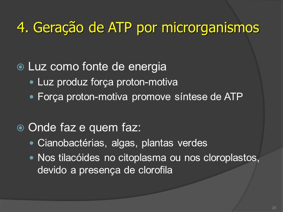 Luz como fonte de energia Luz produz força proton-motiva Força proton-motiva promove síntese de ATP Onde faz e quem faz: Cianobactérias, algas, planta