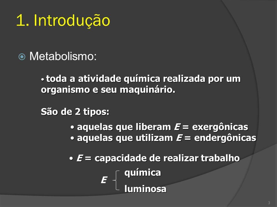 1. Introdução Metabolismo: toda a atividade química realizada por um organismo e seu maquinário. toda a atividade química realizada por um organismo e