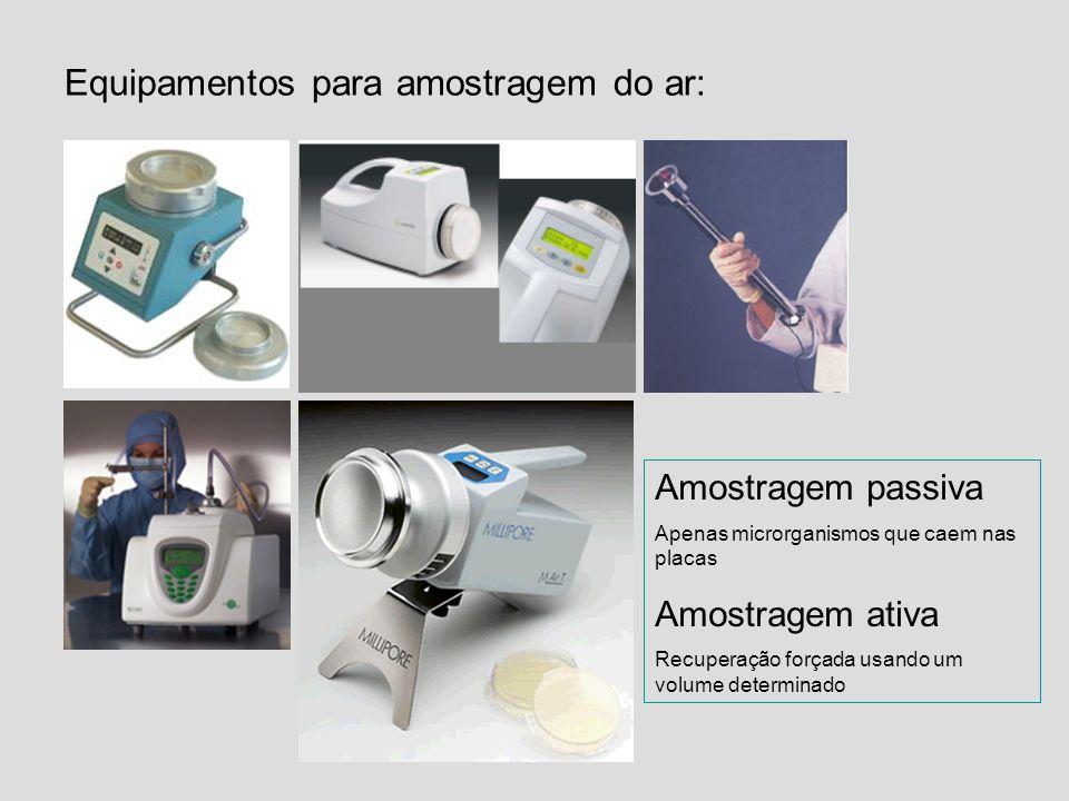 Equipamentos para amostragem do ar: Amostragem passiva Apenas microrganismos que caem nas placas Amostragem ativa Recuperação forçada usando um volume
