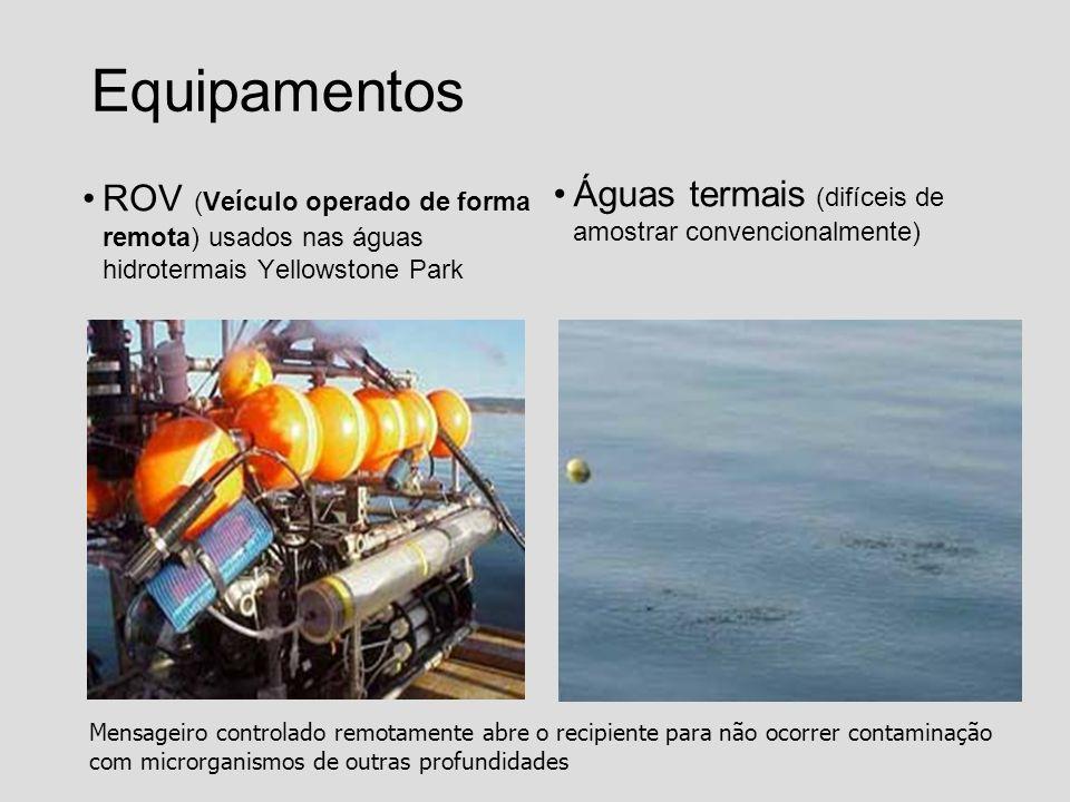 Equipamentos ROV (Veículo operado de forma remota) usados nas águas hidrotermais Yellowstone Park Águas termais (difíceis de amostrar convencionalment