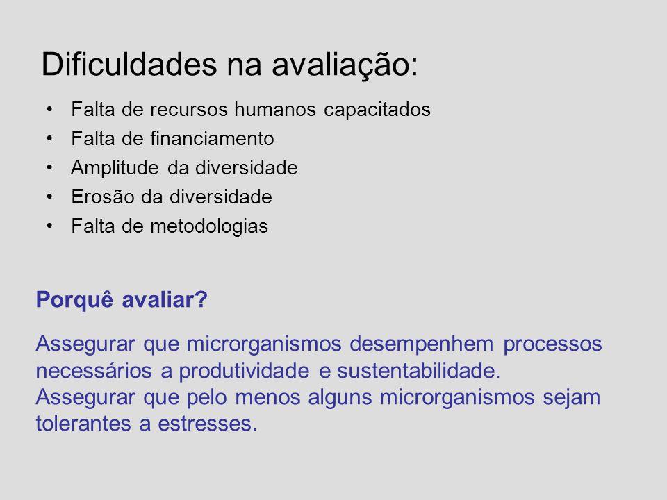 Dificuldades na avaliação: Falta de recursos humanos capacitados Falta de financiamento Amplitude da diversidade Erosão da diversidade Falta de metodo