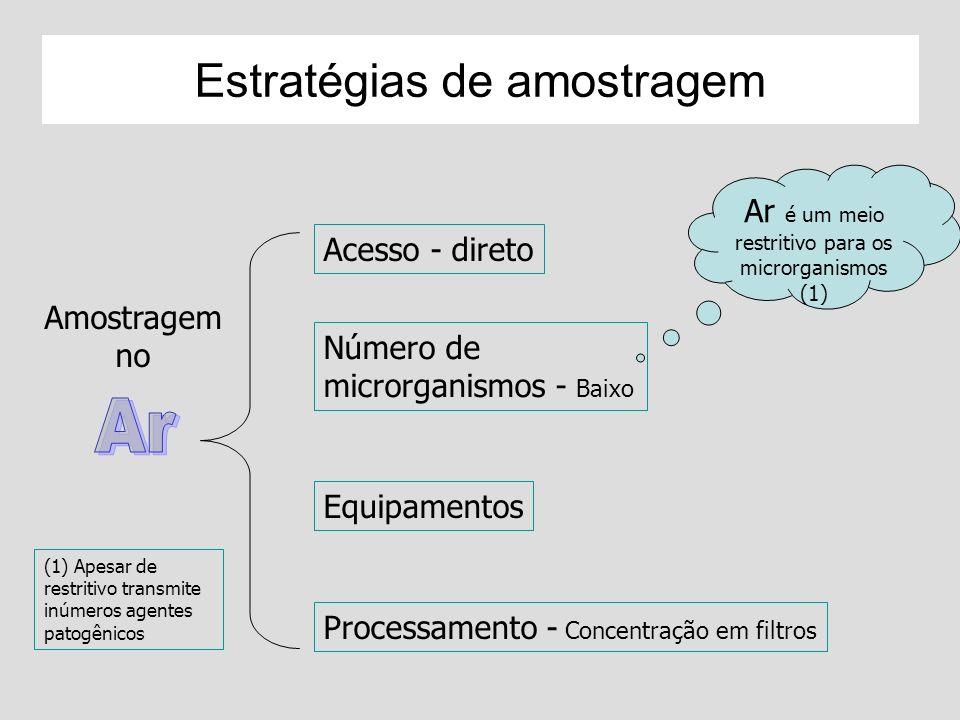 Microbiota do Ar Morte dos microrganismos no ar X t = X 0 - k.t K- coeficiente de inativação Depende do tipo de microrganismo e das condições ambientais Fatores: Umidade relativa Temperatura Radiação (pigmentação, reparo do DNA) Radicais de O 2 Íons, dentre outros