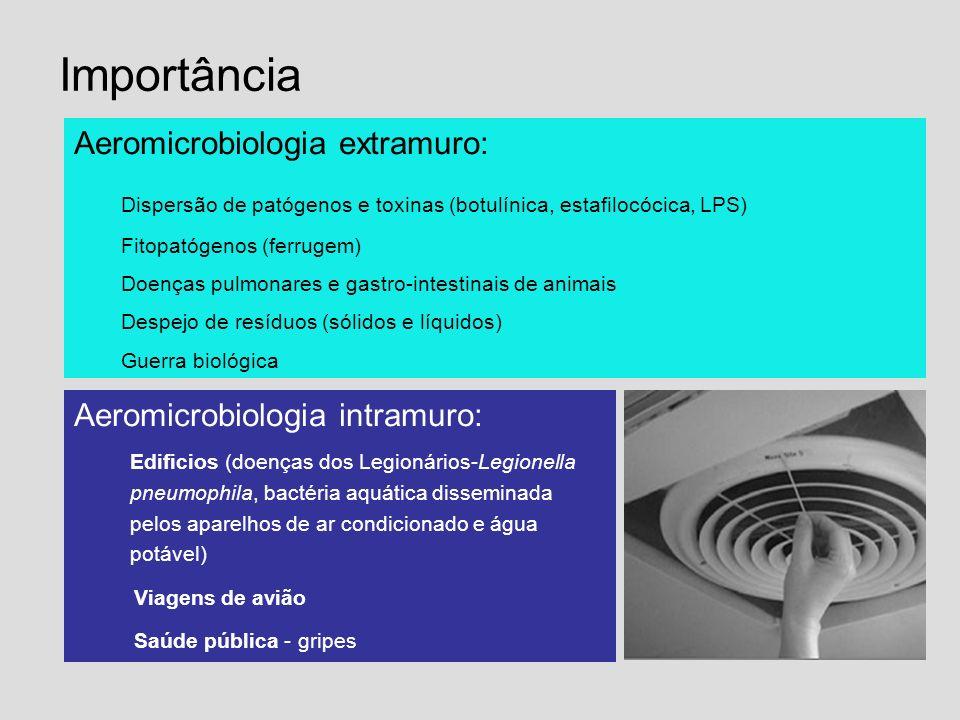 Importância Aeromicrobiologia extramuro: Dispersão de patógenos e toxinas (botulínica, estafilocócica, LPS) Fitopatógenos (ferrugem) Doenças pulmonare