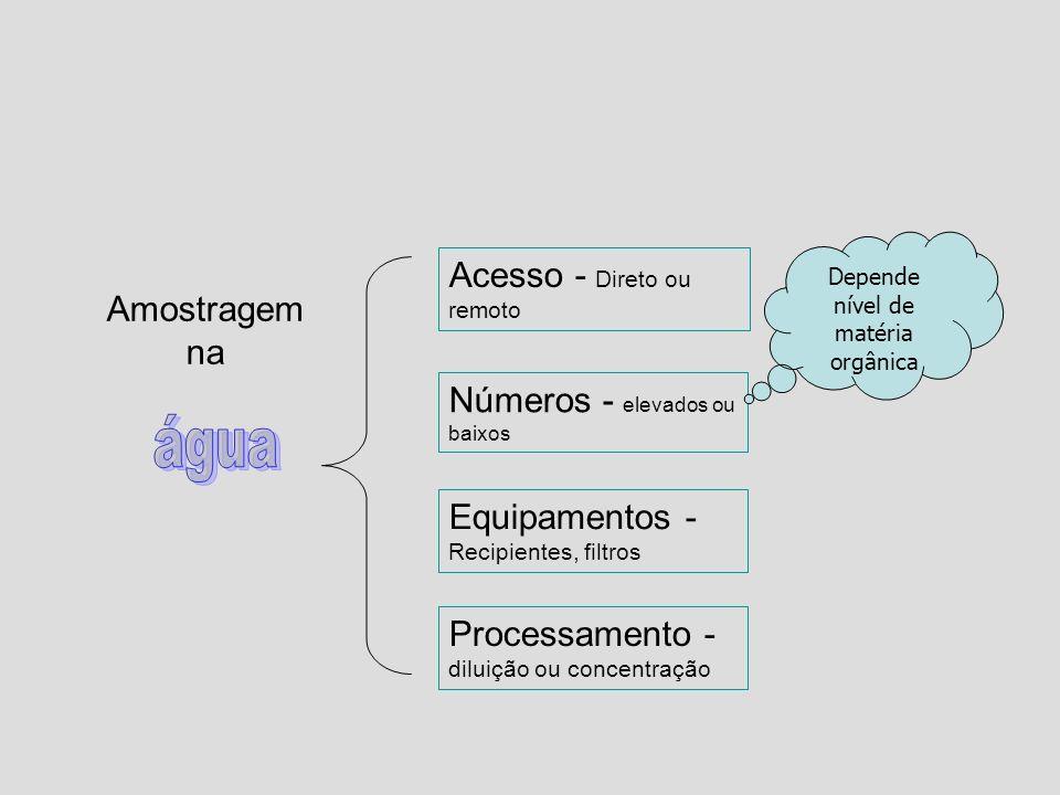 Acesso - Direto ou remoto Números - elevados ou baixos Equipamentos - Recipientes, filtros Processamento - diluição ou concentração Amostragem na Depe